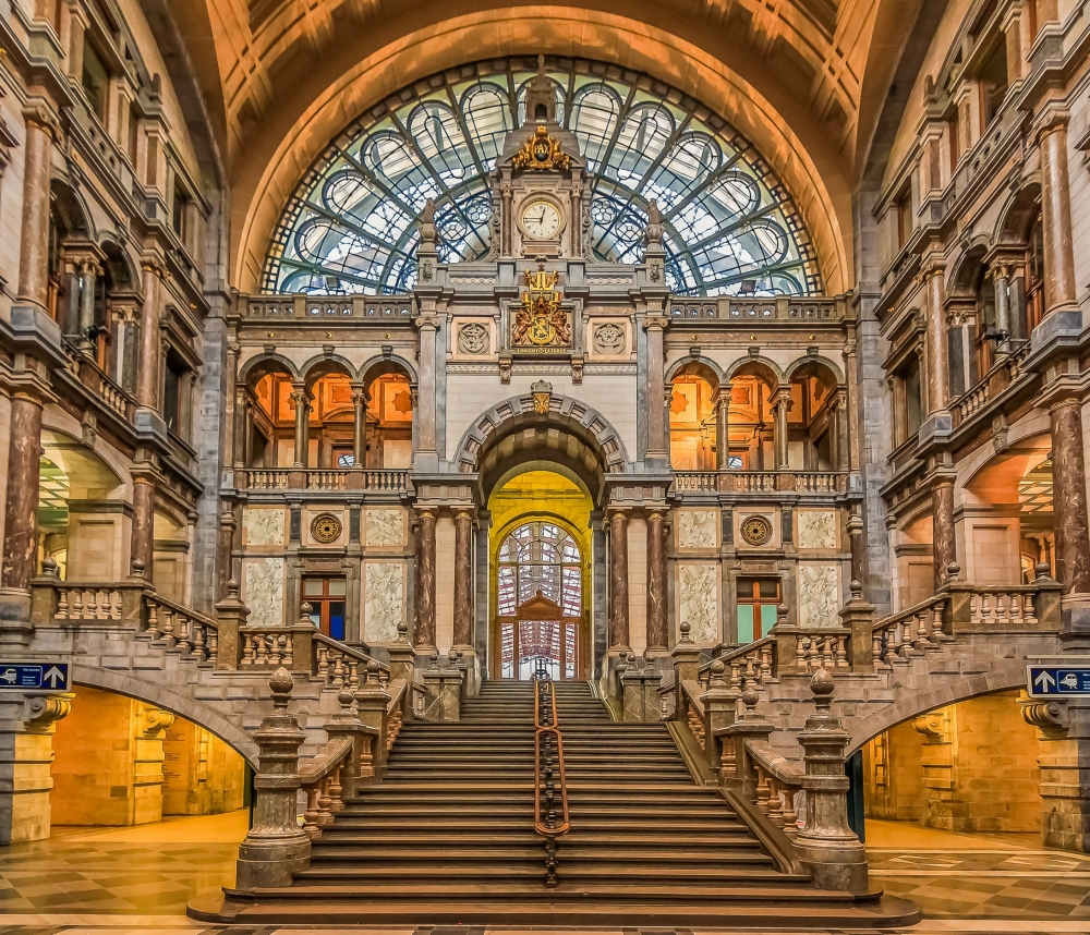 The interior of Antwerp Central train station.